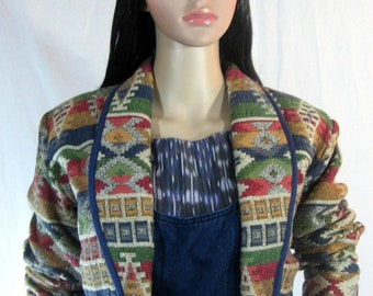 80's ETHNIC CROP JACKET Southwest Canyon Made in India M