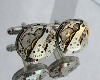 Steampunk Watch cufflinks Watch Movements Cuff Links Watch Gear Cuff Links Mens Cuff Links Gift for Him
