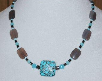 Blue and Gray Turquoise and Hemalyke Smoke Crystal Necklace