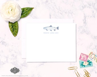 Fish Stationery, Trout Stationery, Personalized Stationery, Personalized Gift, Men Stationery, Boy Stationery, Set of 25, Gift for Boy, Fish