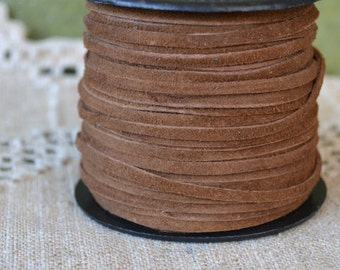 5 Meters of 3mm x 0.5mm Genuine Medium Brown Flat Suede Leather Lace