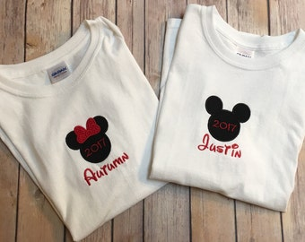Personalized Minnie or Mickey Shirt (Child Size)