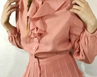 Vintage Handmade Blouse Dusty Pink Top with Accordion Pleat Peplum