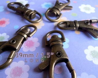 100 Pieces Lobster Swivel Clasps - 1.5 inch /39mm (available in antique copper, copper, nickel, antique brass, gun metal, gold color finish)