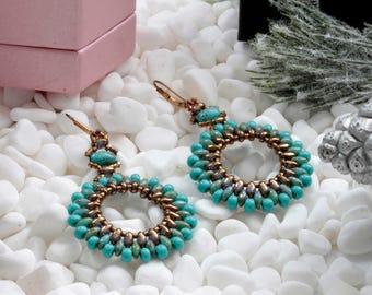 Statement Long Dangle  Earrings - Handmade Beaded Earrings - Modern Dangle Earrings - Australian Jewellery -  Christmas  Gift - KTC-298