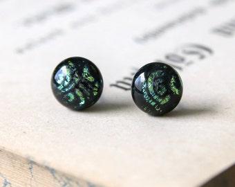 Secret Garden Earring Posts - Black Green Sparkling Dichroic Glass Ear Studs, Hypoallergenic Surgical Steel Ear Posts, Handmade Jewellery