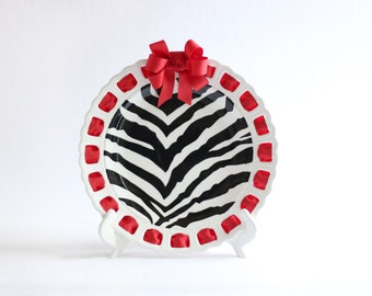 Zebra Ribbon Plate ~ Prissy Plate ~ Ribbon Plate Kitchen Decor Home Decor Wedding Gift Personalized Plate Party Plate
