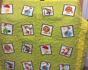 Jungle Animals baby or toddler quilt