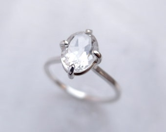 White Topaz Sterling Silver Ring, Oval Cut Gemstone Handcrafted Stackable Solitaire Ring, November Birthstone, Alternative Engagement