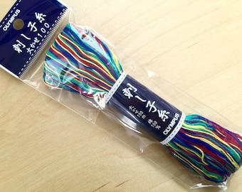 Olympus #173 Japanese sashiko thread variegated Rainbow 100 meter skien
