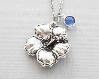 Hibiscus Necklace, Flower Necklace, Floral Jewelry, Mothers Day Gift, Garden Jewelry, Silver Jewelry, Swarovski Channel Birthstone Crystal