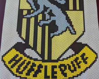 Harry Potter's Hufflepuff – Teen/Adult Size C2C Crochet Blanket Afghan Graph Pattern – 75x90 C2C crochet squares