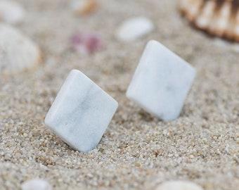 White Marble Earrings Stud Marble Stone Earrings White Stud Earring Square Earrings Stud Geometric Earrings Minimalist Square Studs Silver