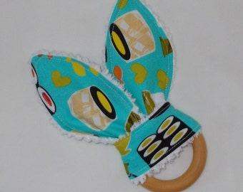 Turquoise Sushi Rabbit Ears Wooden Teething Ring - SALE