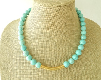 Turquoise bead necklace with curved brass bar, statement necklace, boho necklace, statement necklace, layering necklace, beach boho