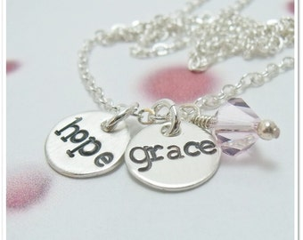 Hand Stamped Name Necklace - Two Disc Necklace Mommy Mom Twins Sterling Silver Necklace