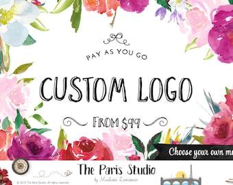 Custom Logo Design Monogram Handwritten Logo Design Text Logo Typographic Monogram Logo Watercolor Logo Website Logo Blog Logo Boutique Logo
