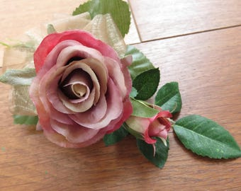 Dusky Pink Rose Corsage, Wedding, Prom or Event.