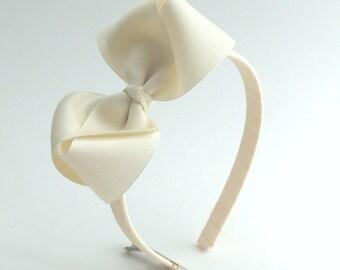 Ivory Bow Headband, Girls / Adults Hard Headband with Bow, Off White, Ivory Large Bow on Plastic Headband, Back to School