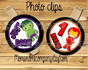 Baby Boy First year photo clip banner newborn to 12 months Superhero first birthday 12 month banner first year banner party RIBBON INCLUDED
