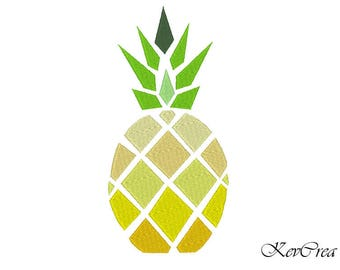 INSTANT DOWNLOAD Pineapple Machine Embroidery Design -  Instant Download - 2 Hoop