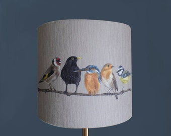 Lamp shades etsy uk garden birds lampshade by artist grace scott aloadofball Image collections