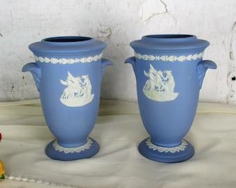 """couple pair Vases Wedgwood Jasperware Baby Blue Lavendel Pegasus Muses 5.90"""""""