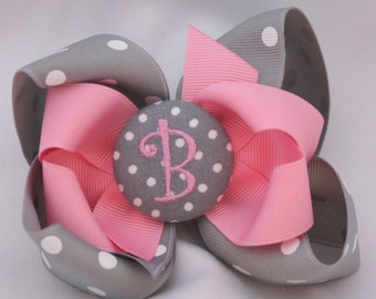 Pink Elephant Monogrammed Button Hair Bow