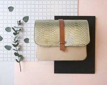 "handbag ""LOUIS"" vintage nude and python leather gold"