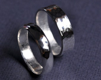 His and His Faceted Wedding Band Set. Wedding Rings. Marriage Equality. LGBT. Commitment. Gay Marriage. Sterling Silver. Handmade to order.