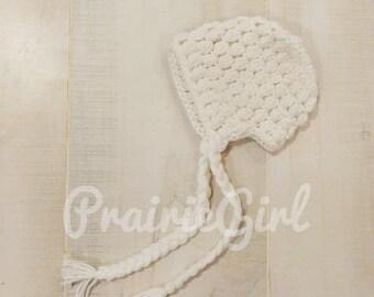 Newborn - 3 Months Crocheted Bonnet / Hat