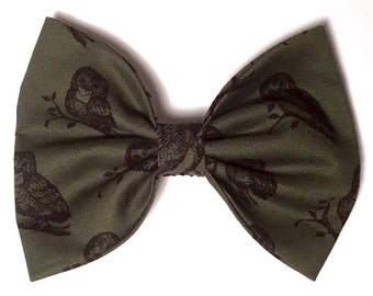Olive Green Large Hair Bow Barrette featuring Printed Black Owls, handmade in the UK