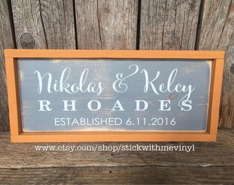 Wedding gift, framed name sign, personalized sign, ESTABLISHED signs, anniversary gift, housewarming gift, last name sign
