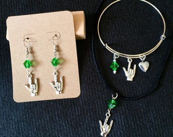 I love you ASL with green crystal earring, necklace and bangle bracelet set
