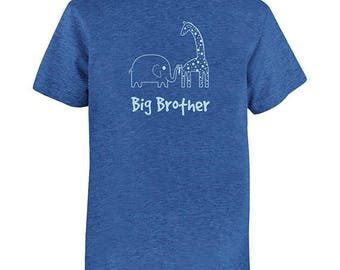 Big Brother Shirt - Multiple Colors Available - Kids Big Brother Elephant and Giraffe T shirt - Gift Friendly - PolyCotton Blended Shirt