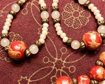 Cream, Brass and Red/Gold Focal Wooden Bead Earrings.