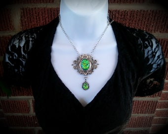 Victorian Necklace, Green and Yellow Glass Opal, Opalite Silver Edwardian Oval Filigree