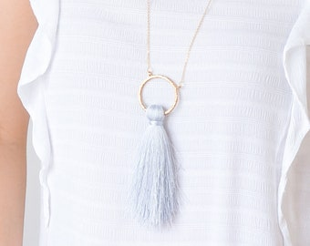 Tassel Necklace Statement Necklace For Women Boho Necklace Gray Tassel Necklace Gold Necklace Bohemian Necklace Boho Jewelry/ MIRTA