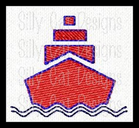 Boat Mini Fill Stitch Embroidery Design