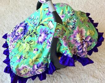 Purple Floral Canopy Blanket, Purple Car Seat Canopy Blankets, Attachable Car Seat Blanket, Infant Car Seat Canopy