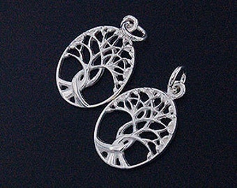 2 of 925 Sterling Silver Tree of Life Pendants  13x16 mm.  Polish Finished :th2098