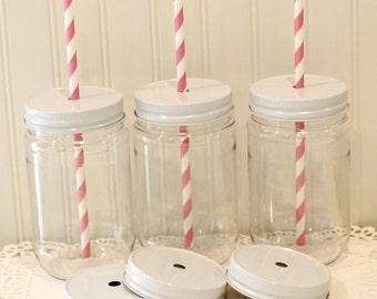 Plastic Mason Jars, 10 Plastic Mason Jar Cups with lids, Metal Straw Hole Lids, Choose Lid Color, Wedding Favors, Baby Shower Favors, Cups