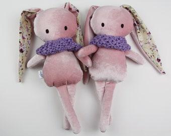 NEW velvet BUNNY handmade stuffed doll pink pastel Mini Pals soft rag doll keepsake gift  ready to ship