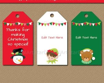 Printable Christmas Tags - EDITABLE Christmas Party Favor Tags - Christmas Gift Tags - Holiday Tags - Instant Download Holiday Hang Tags C2