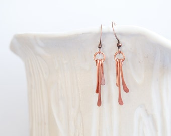 Hammered Copper Earrings, Drop Earrings, Dangle Earrings, Mixed Metal Earrings, Modern Earrings