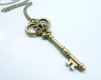 Promotion-1PCS Bronze Key Necklace / Brass Key Necklace / Fantasy Key Necklace / Key Jewelry / Key of Love CN2332-2