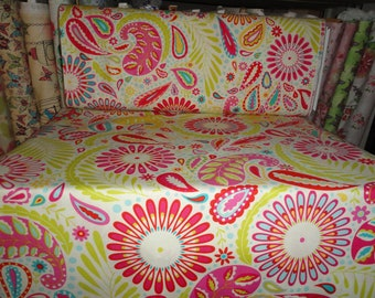 Cotton fabric, fat quarters, Free Spirit Fabric, Paisley, Flower Power, Quilting, Sewing, Springtime, DIY craft projects, Pillows, bedding