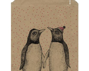 50 big kraft bags for Christmas - Penguin kraft bag