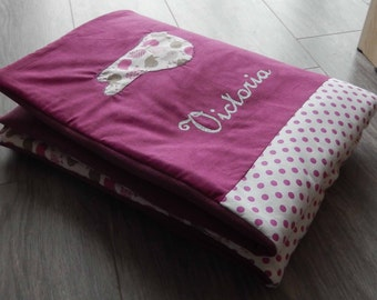 Cover(Blanket) baby quilted with a patchwork of fabrics(tissues) birds