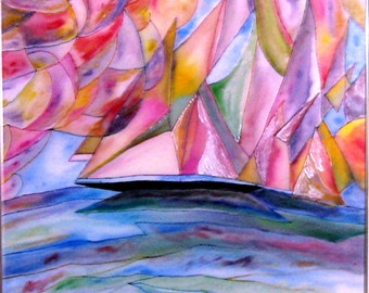 Art, Painting, Fiber Art, Silk, Fickle Winds, Pinks , Blues, 34x34inches, Framed